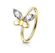 Piercing nez anneau papillon doré strass