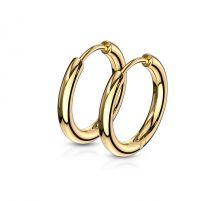 Paire boucles d'oreille anneaux en acier doré