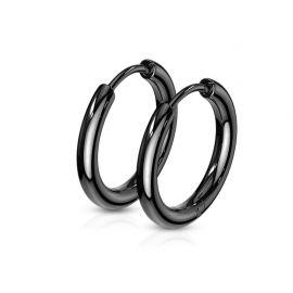 Paire boucles d'oreille anneaux en acier noir