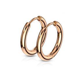 Paire boucles d'oreille anneaux en acier rosé
