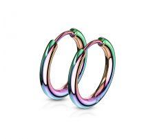Paire boucles d'oreille anneaux en acier multicolore