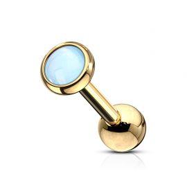 Piercing cartilage hélix doré pierre lumineuse bleue
