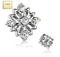 Piercing microdermal Or blanc 14 Carats fleur 5 strass