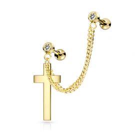 Double piercing cartilage oreille chaine croix doré