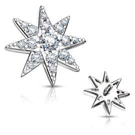 Piercing microdermal étoile pavée de strass