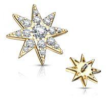Piercing microdermal plaqué or étoile pavée de strass