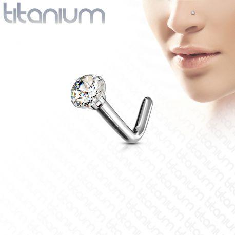 Piercing nez tige en L zircon Titane G23