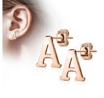 Paire boucles d'oreilles lettre alphabet or rose