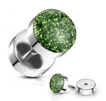 Piercing faux plug à paillettes vert