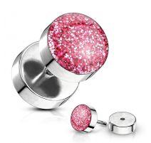 Piercing faux plug à paillettes rose