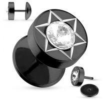 Piercing faux plug oreille acier noir strass étoile