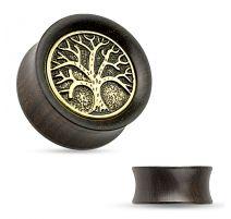 Piercing plug en bois d'ébène avec arbre de vie
