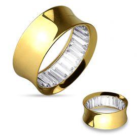 Piercing tunnel oreille acier doré gemmes blancs