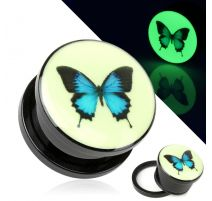 Piercing plug glow in the dark papillon