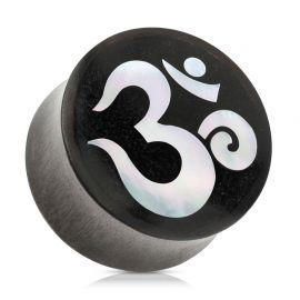 Piercing plug en bois de sono et nacre symbole Ohm