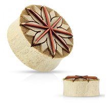 Piercing plug en bois de crocodile lotus tribal