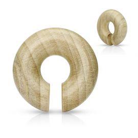 Piercing écarteur oreille rond en bois de crocodile