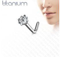 Piercing nez tige en L strass carré Titane G23