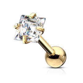 Piercing cartilage hélix doré strass carré blanc
