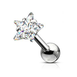 Piercing cartilage hélix strass étoile blanc