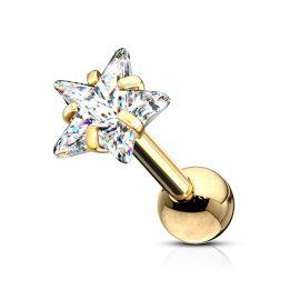 Piercing cartilage hélix doré strass étoile blanc