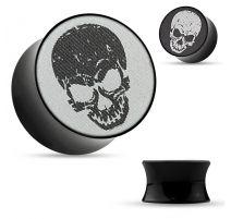 Piercing plug acrylique skull holographique