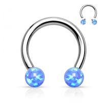 Piercing fer à cheval opale synthétique bleue