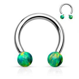 Piercing téton fer à cheval opale de synthèse vert