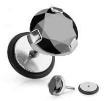 Piercing faux plug zirconium noir