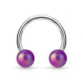 Piercing fer à cheval boules perlées mat violet