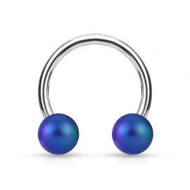 Piercing fer à cheval boules perlées mat bleu