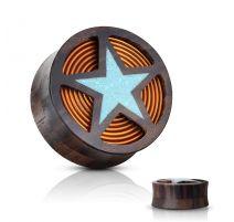 Piercing plug bois de sono cuivre et étoile turquoise