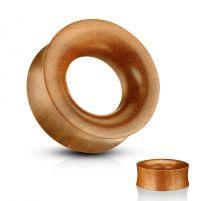 Piercing tunnel en bois de saba creux concave