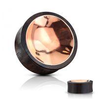 Piercing plug bois de sono centre cuivre concave