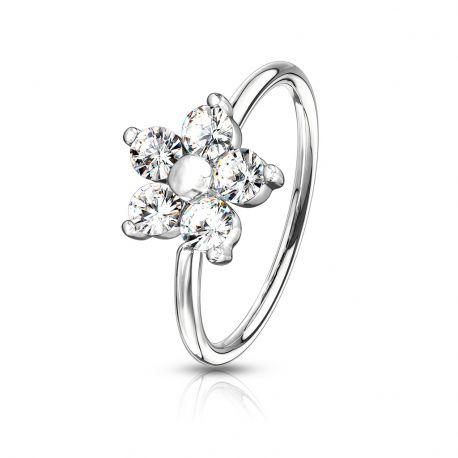 Piercing nez anneau pliable fleur strass blancs