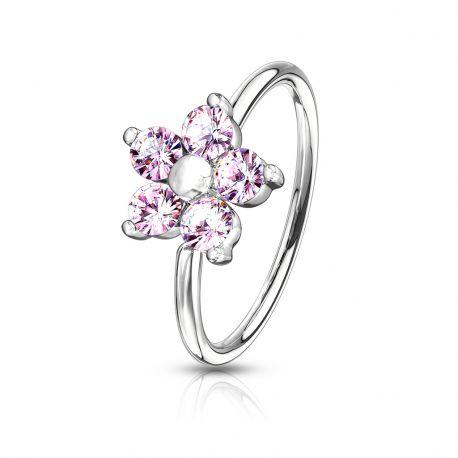 Piercing nez anneau pliable fleur strass rose