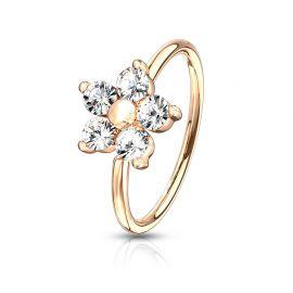 Piercing nez anneau pliable fleur plaqué or rose