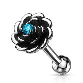 Piercing cartilage hélix fleur antique turquoise