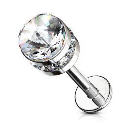 Piercing labret oreille cylindre cristal blanc