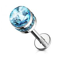 Piercing labret oreille cylindre cristal turquoise