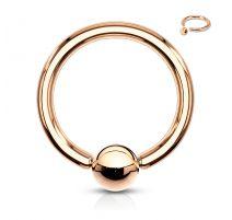 Piercing anneau captif or rosé