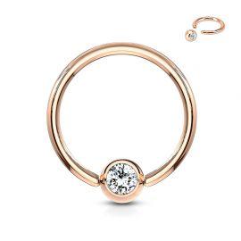 Piercing anneau captif or rosé cristal blanc