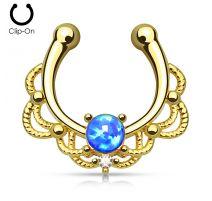 Faux piercing septum plaqué or opale bleue