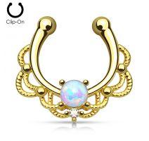 Faux piercing septum plaqué or opale blanche