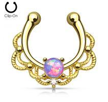 Faux piercing septum plaqué or opale violette