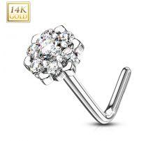 Piercing nez Or blanc 14 carats fleur sept gemmes blanc
