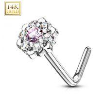 Piercing nez Or blanc 14 carats fleur sept gemmes blanc et rose