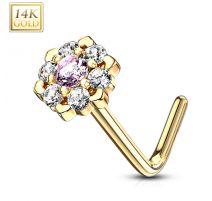 Piercing nez Or jaune 14 carats fleur sept gemmes blanc et rose