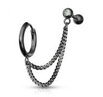 Double piercing cartilage oreille chaines anneau barbell noir