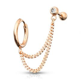 Double piercing cartilage oreille chaines anneau barbell or rose